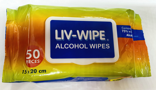Liv-Wipe Antibacterial Alcohol Wipes, 75pct Ethyl Alcohol Sanitiser, 15 x 20cm,45GSM, Non-Woven, 20pct Viscose, w/ Snap On Lid, 50/Soft Pack