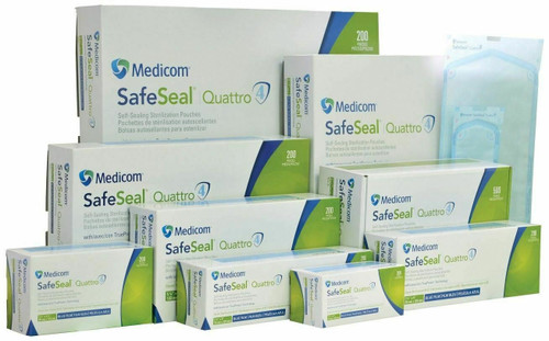 "89 x 229 cm (31/2"" x 9""), 200pcs/box, Medicom SafeSeal Quattro Sterilization Pouches with TruePres Technology"