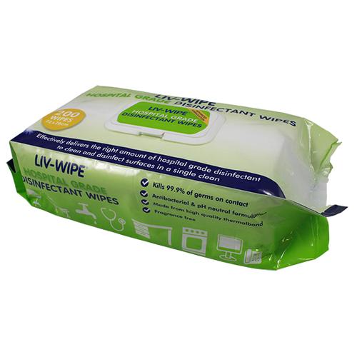 Liv-Wipe Hospital Grade Sanitiser Disinfectant Wipe, 22 x 28cm, 200 per Soft Packet with Hard Lid