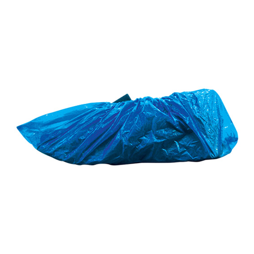 Premium, Shoe Cover Overshoes, Recyclable Plastic, Polyethylene, 21gsm, Blue, 100 per Bag, 1000 per Carton