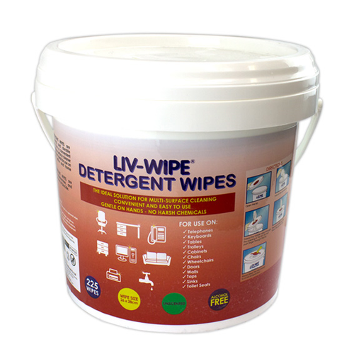 Liv-Wipe Detergent Wipes, 26 x 28cm, Large, Nonwoven, Alcohol Free, Neutral pH, 225 Wipes per Tub
