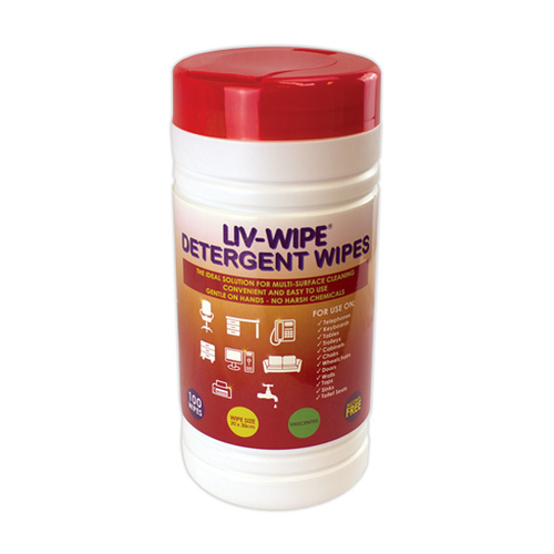 Liv-Wipe Detergent Wipes, 20 x 30cm, Nonwoven, Alcohol Free, Neutral pH, 100 Wipes per Tub