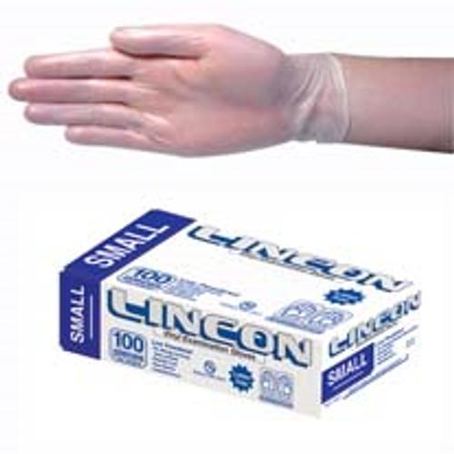 Lincon Vinyl Gloves, Recyclable, 4.5g, Low Powder, Small, Clear, HACCP Grade, 100 per Box, 1000 per Carton