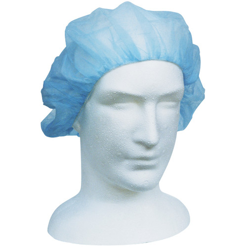 Disposable Bouffant Hairnet Cap, Blue, Nonwoven, Latex Free, Double Elastic, 21 inches, 1000 per Carton