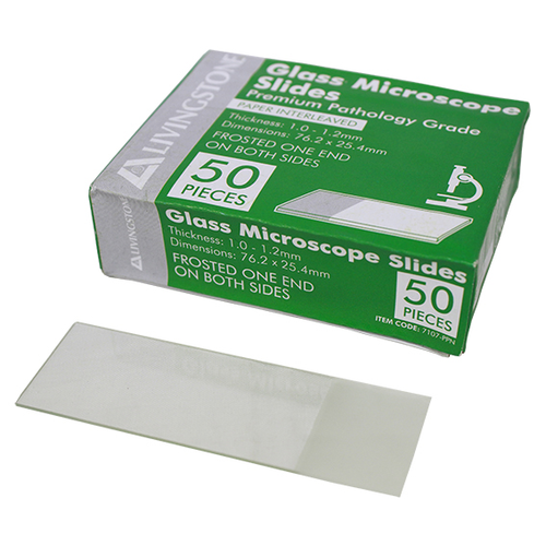 Liv Premium Pathology Grade Microscope Glass Slide,Frosted,One End on Both Sides,Thickness 1.0-1.2mm,76.2 x 25.4mm,Interleaved, 50/Pack