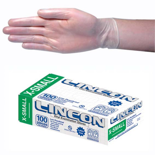 Lincon Vinyl Gloves, Recyclable, 4.0g , Low Powder, Extra Small, Clear, HACCP Grade, 100 per Box
