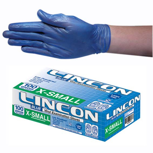 Lincon Vinyl Gloves, Recyclable, 4.0g, Low Powder, Extra Small, Blue, HACCP Grade, 100 per Box