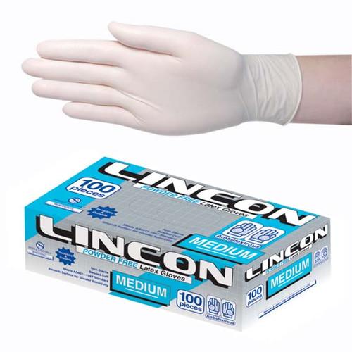Lincon Biodegradable Latex Examination Gloves, AS/NZ, Powder Free, Medium, Cream Colour, 100 per Box