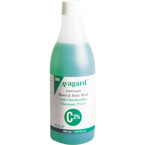 3M Avagard Antiseptic Hand and Body Wash with Chlorhexidine Gluconate 2 Percent, 500ml, Strictly For Health Professional Use Only, Each