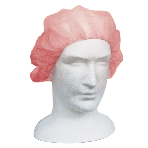 Disposable Bouffant Hairnet Cap, Red, Nonwoven, Latex Free, Double Elastic, 21 inches, 250 per Inner Dispenser