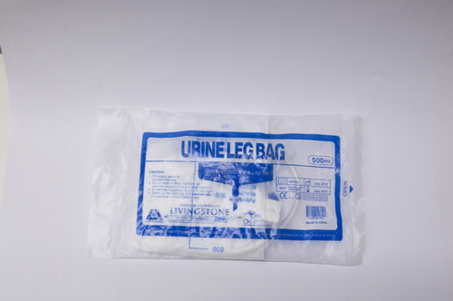 Drainage Urine Bag, 500ml, 40cm Tube, 56cm Elastic Strap, with Bottom Outlet and Leg Tie, Graduated, Sterile, Each
