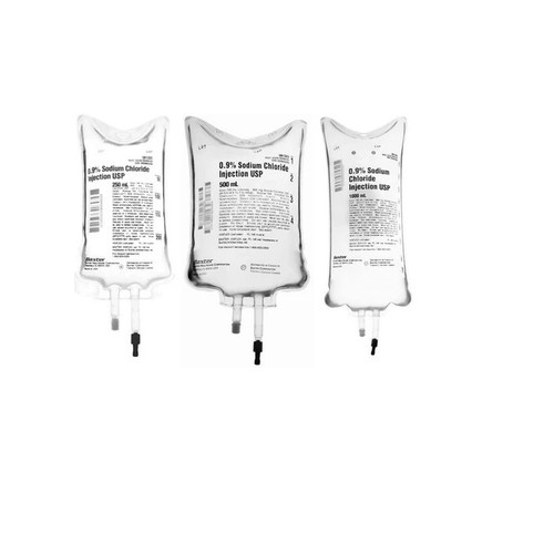 Baxter Intravenous IV Infusion 0.9% Sodium Chloride, 50ml Bag, Single Pack