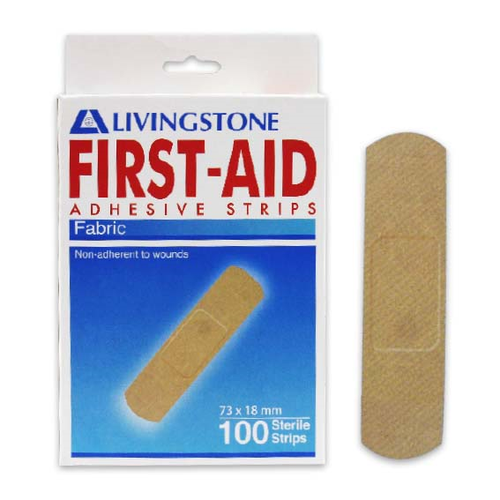 Adhesive Fabric First Aid Strips with Pad, 73 x 18mm, Latex Free, Sterile, 100 Per Box