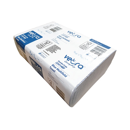 Veora Everyday Multifold Towels, 1-Ply, 220 x 230mm, Recycled, Blue, 250 Sheets per Pack, 12 Packs per Carton