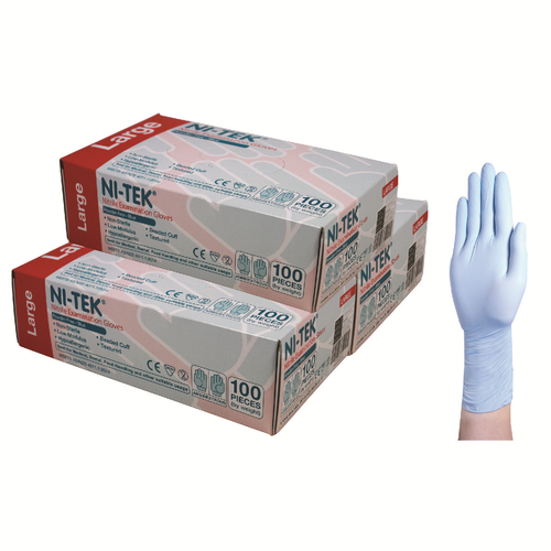 Ni-Tek Nitrile Gloves, AS/NZ, Malaysian, Powder Free, Large, Blue Colour, 100 per Box, 1000 per Carton