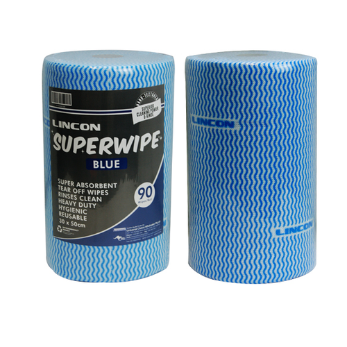 Lincon Superwipe Microfibre Cleaning Wipes, Heavy Duty, 30cm Width, Perforated per 50cm, 45m, Blue, 90 Sheet per Roll, 4 Rolls per Carton