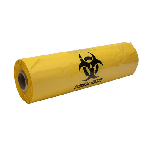 Biohazard Waste Bag, 59 x 150cm, 240 Litres, 30 Microns, Recyclable LDPE, Yellow, 50 Bags per Box