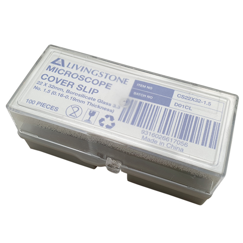 Microscope Cover Slip, 22 x 32mm, No. 1.5 Thickness, Borosilicate 3.3 Glass, 100 per Pack, Germany