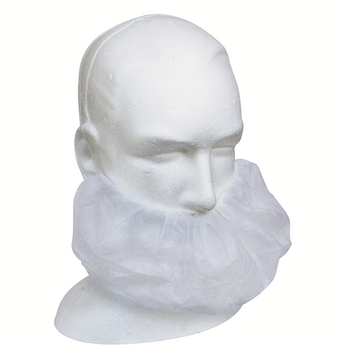 Disposable Beard Cover, Single Elastic Head Band, Latex Free, 14gsm, White, 100 per Box