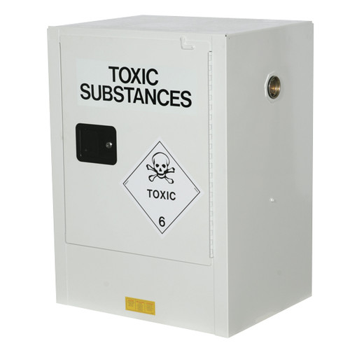 Justrite Safety Storage Cabinets for Toxic Substances, 30 Litres, 800 x 595 x 465mm, 2 Shelves, 1 Door, White, Each