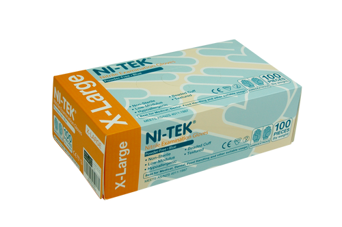 Ni-Tek Nitrile Gloves, AS/NZ, Malaysian, Powder Free, Extra Large, Blue Colour, 100 per Box