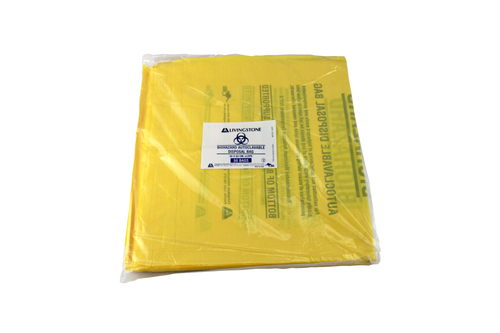 Biohazard Waste Bag, Autoclavable 121degC, Recyclable PP, 30 x 60cm, 50 Microns, Yellow, 10 Packs of 50 Pieces, 500/Carton