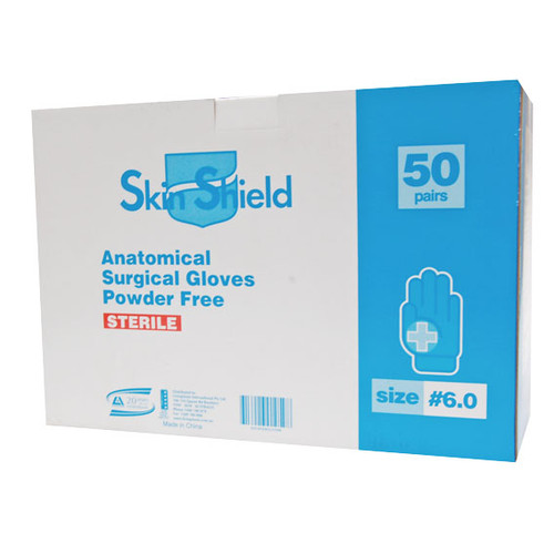 Skin Shield Biodegradable Latex Surgical Gloves, Powder Free, Sterile, Size 8.5, 50 Pairs per Box
