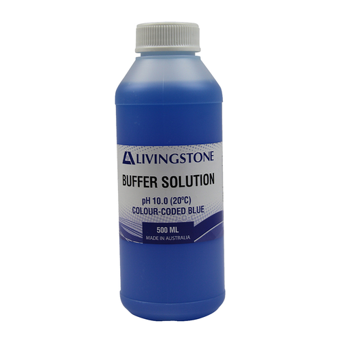 Buffer Solution, pH 10.0, (20degC), Colour-coded, Blue, 500ml