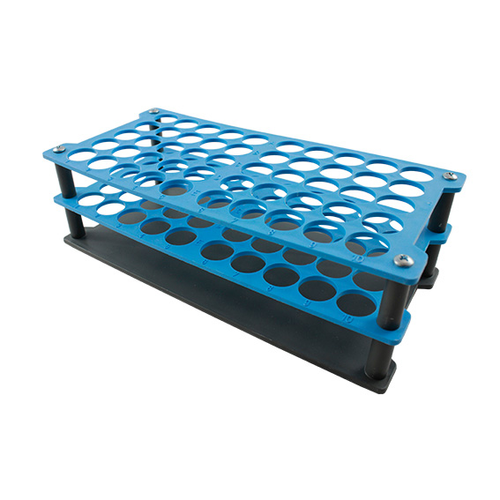 Aptaca Test Tube Rack Stand, Recyclable PP, 18mm Test Tube D, 50 Holes, Autoclavable, Stackable, Alphanurmeric Embrossed Grid,Each