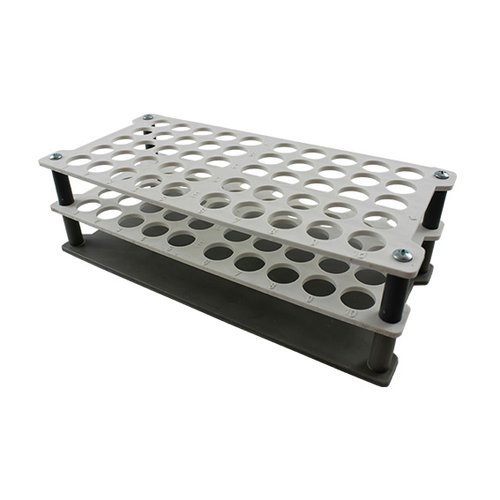 Aptaca Test Tube Rack Stand,Recyclable PP,16mm Test Tube D,50 Holes,235x110x75 mm,Autoclavable,Stackable,Alphanumeric Embrossed Grid,Each