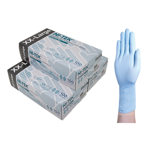 Ni-Tek Nitrile Premium Gloves, AS/NZ, Powder Free, Double Extra Large, Blue Colour, 100 per Box, 10 Boxes per Carton
