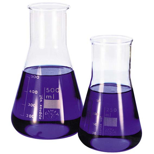 Simax Erlenmeyer Conical Flask, 1000ml, Wide Neck, 50mm Neck Diameter, Borosilicate Glass, European, Each