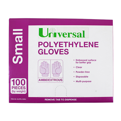 Universal Disposable Polyethylene Gloves, Small, Recyclable, Latex Free, Clear, 100 per Pack