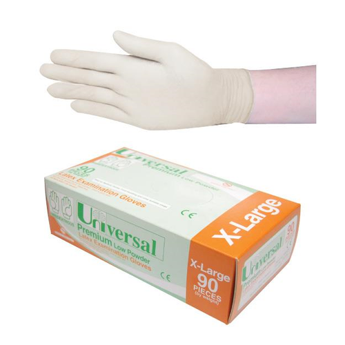 Universal Biodegradable Latex Examination Gloves, Low Powder, AS/NZ Standard, Extra Large Size, 90 per Box, 900 per Carton