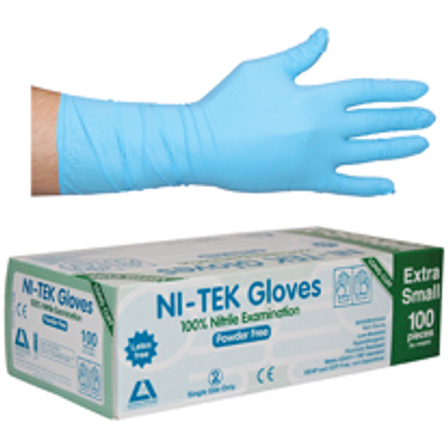 Ni-Tek Nitrile Gloves, Long Cuff 300mm, AS/NZ, Powder Free, Extra Small, Blue, 100 per Box, 1000 per Carton