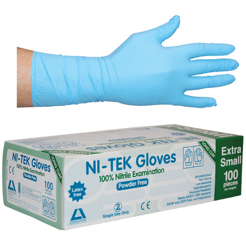 Ni-Tek Nitrile Gloves, Long Cuff 300mm, AS/NZ, Powder Free, Extra Small, Blue, 100 per Box