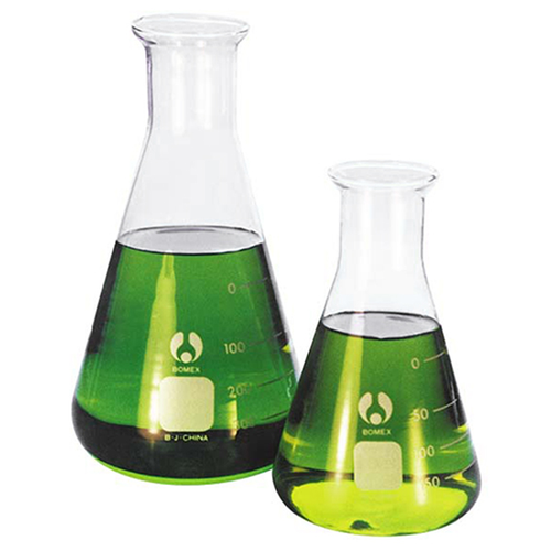 Lincon Erlenmeyer Conical Flask, 500ml, Narrow Neck, 32mm Neck Diameter, Borosilicate Glass, Graduated, 2 per Box