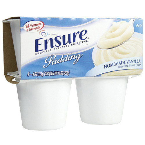 Abbott Nutrition Ensure Pudding, Vanilla, 113 Grams Cup, 4 per Pack