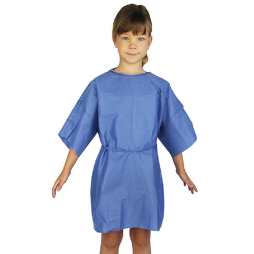 Blue Paediatric & Kids patient Isolation gown, soft and comfort. 100pc/pkt