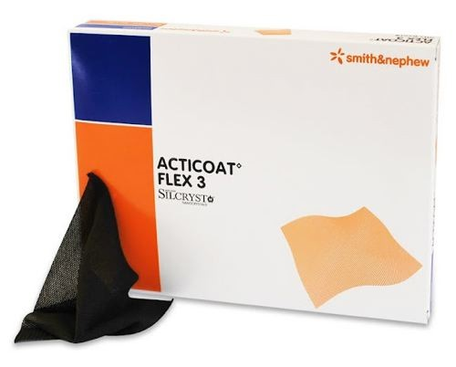 Acticoat Flex 3 Day Silver Antimicrobial Barrier Dressing, 10 x 10cm, 5 per Box