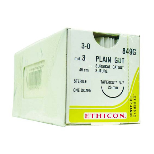 "849G Ethicon Surgical Gut Suture, Size 3-0, Length 18"", Virtual Monofilament, V-7 Needle, Tapercut Cardio, Absorbable, 12 per Box"