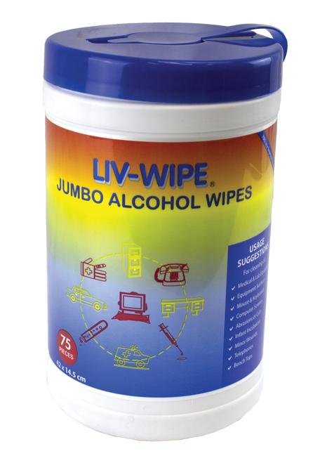 Liv-Wipe Alcohol Wipes, 70 Percent Isopropyl Alcohol Sanitiser, Jumbo, 42 x 14.5cm, 75 per Tub, 12 Tubs per Carton
