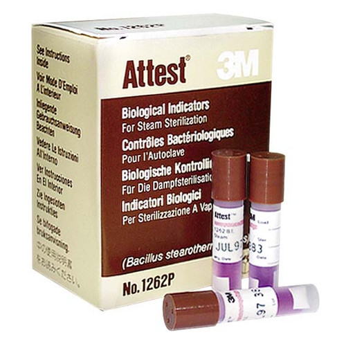 3M Attest Biological Indicator for Steam #1262P, Brown Top, 25 per Pack