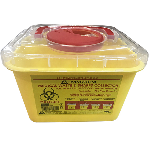 Liv Needles Sharps Waste Collector, 4.75 Litres, Rotating Lid and Finger Guard, Clear View Top, Square, Recyclable Plastic, Yellow, Each