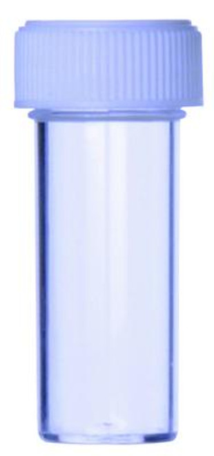 Blue Cap Specimen Containers, 25ml, 25D x 80H mm, Polystyrene with Screw Cap, pkt of 100 pcs