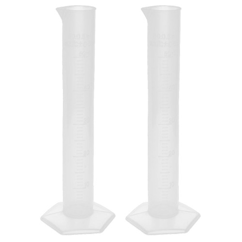 Plastic Measuring Cylinders, 250 ml,  Tall Form - Pentagonal Base, Polypropylene, Graduated with Spout, Autoclavable.