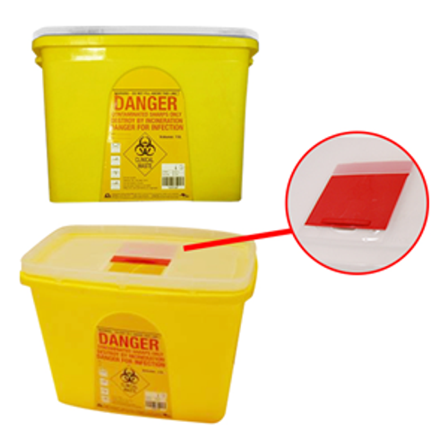 Needles Sharps Waste Collector 15 Litres Sliding Lid and Finger Guard Translucent Cover Square Recyclable Plastic, Yellow, Each