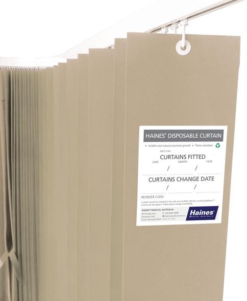 Disposable Curtain 7.5m x 2m. Antimicrobial and fire retardant. 120 gsm. Length 7.5m, Drop 2.0m  - Latte - Box/5