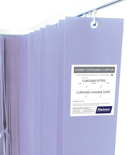 Disposable Curtain 7.5m x 2m. Antimicrobial and fire retardant. 120 gsm. Length 7.5m, Drop 2.0m  - Lilac - Box/5