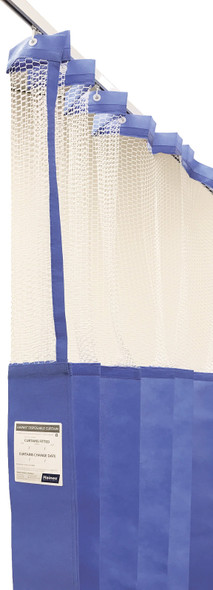 Disposable Curtain 4.5m x 2.3m - Mesh. Antimicrobial and fire retardant. 120 gsm. Length 4.5m, Drop 2.3m  - Summer Blue - Box/8